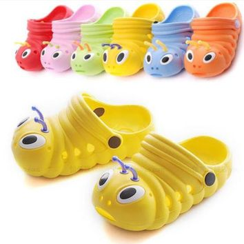 Baby Unisex Shoes Summer Kids Cute Cartoon Caterpillars Pattern Breathable Boys Girls Sandals Children Slides Slippers