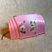 Vintage Bed Headboard Lamp - Mid Century - Art Deco - Hard Plastic shade with Painted Floral Design