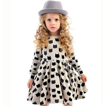 INS Hot Baby Girl Autumn Dress Children Black Cat Long Sleeve Clothes Kid Casual Cotton Dot Clothing Princess Girls Dresses 2-6T