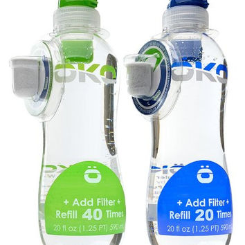 OKO H2O Pure Everyday Water Bottle with 40-Refill Filter (2-Pack), Assorted Colors