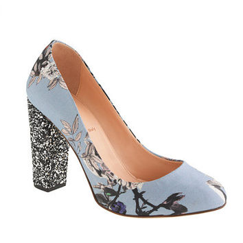 Etta glitter-heel pumps in hummingbird floral - pumps & heels - Women's shoes - J.Crew