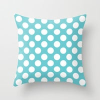 Giant Polka Dots Blue Throw Pillow by EML - CircusValley