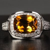 Cushion Citrine Engagement Ring Pave Diamond Wedding 14K White Gold 8x10mm