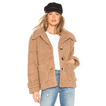 Free People So Soft Cozy Peacoat Brown