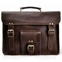 "ZLYC Men Vintage Retro HANDMADE Leather Business Briefcase 15.6"" Laptop MacBook Messenger Shoulder Bag Backpack Satchel Handbag Dark Brown"