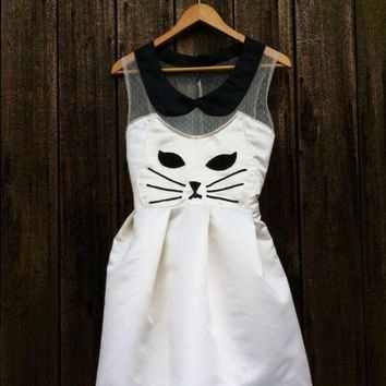 Handmade Kawaii Kitty Cat Dress  White