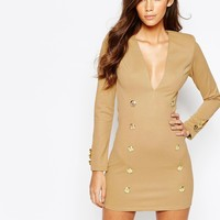 Rare London Body-Conscious Dress With Military Gold Button Detail