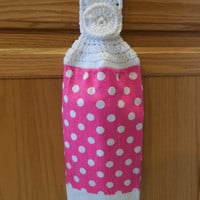 Hanging Towel Topper - Crochet - Hot Pink With White Polka Dots