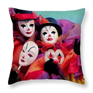 Funny Clown Pillow. Carnival Seat Cushion. Colorful Pillow Cover. Colorful Clown Home Decor. Photo Art Throw Pillow. Clown Outdoor Cushion