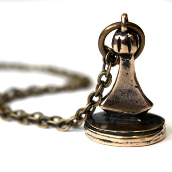 Wax Seal Necklace Fleur de Lis Seal Stamper Bronze Necklace by Gwen Delicious Jewelry - Usable Seal Stamp