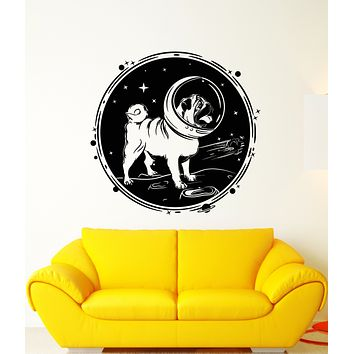 Vinyl Wall Decal Pug Dog Pet Astronaut Helmet Planet Stars Moon Space Stickers (3257ig)