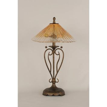 Toltec Lighting 42-BRZ-710 Olde Iron Bronze Two-Light Table Lamp with Amber Crystal Glass Shade