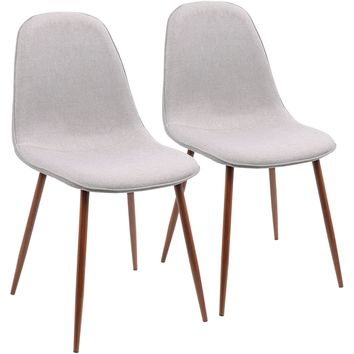 Pebble Mid-Century Modern Dining / Accent Chairs, Walnut & Grey (Set of 2)