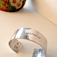 Wide Aluminum Cuff with Quotes, Attribute Words or Mantra