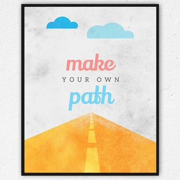 Printable Kids Wall Art Instant Download Nursery Art Make Your Own Path Wall Art Printable Decor Inspirational Quotes Diy Clouds Prints