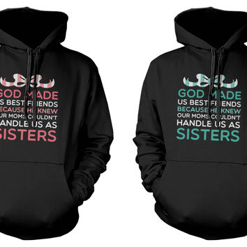 God Made Us Best Friends BFF Matching Black Hoodies