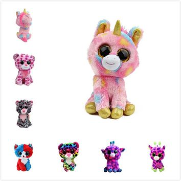 (A Toy A dream)2017 Hot Ty Beanie Boos Big Eyes Small Unicorn Plush Toy Doll Kawaii Stuffed Animals Collection Children's Gifts