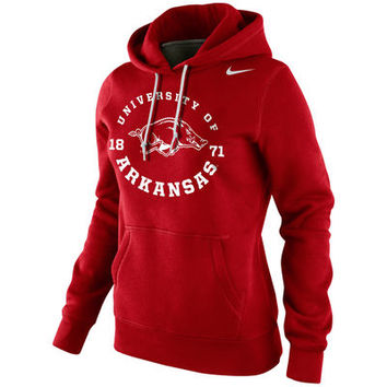 Nike Arkansas Razorbacks Womens School Stamp Pullover Hoodie - Cardinal