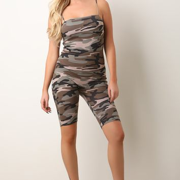 Camouflage Square Neck Biker Shorts Catsuit Jumpsuit