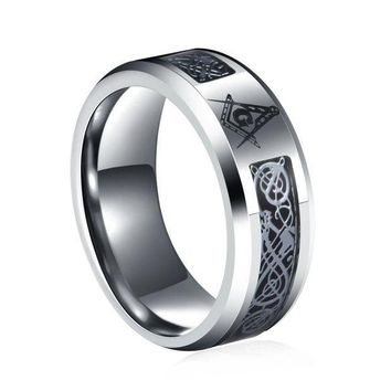 MDIGCI7 New arrival High quality 8 mm Stainless Steel Dragon Scale Dragon Pattern Masonic Mens Ring Jewellery bijou