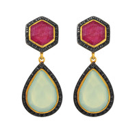 Ruby And Teardrop Aqua Chalcedony Drop Earrings Set In Yellow Gold Plated Sterling Silver