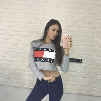 Long Sleeve Hot Sale Alphabet Print Crop Top Round-neck Hoodies [9251339340]
