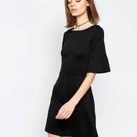 ASOS | ASOS Mini Dress In Ponte With Ruffle Sleeve at ASOS