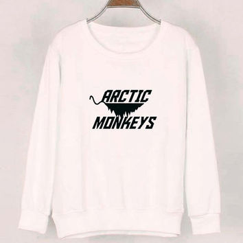 new arctic monkeys sweater White Sweatshirt Crewneck Men or Women for Unisex Size with variant colour