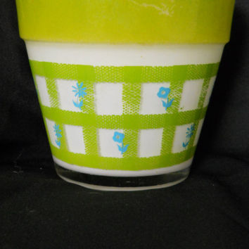 Flower Pot Glass Under Glass White Painted Lime Green and Electric Blue 60s Planter