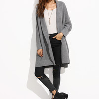 Grey Shawl Collar Oversized Dolman Sleeve Cardigan