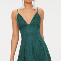 Emerald Green Lace Plunge Skater Dress