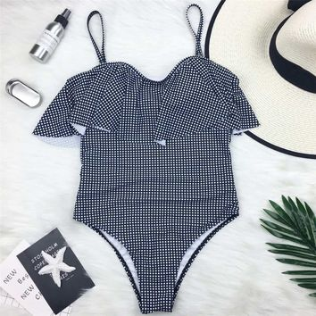 One Piece Swimsuit Polka Dot Swimwear for Women