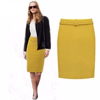Long Pencil Skirts Womens Business Suit Formal Fashion Knee Length Pencil Skirt OL Skirts Saias Femininas with Belt S-XXL