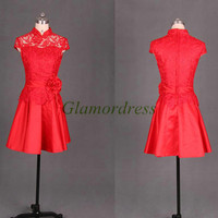 short red lace and satin Chinese cheongsam for wedding party unique vintage prom dress hot discount homecoming gowns under 150