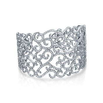 Flora Scroll Wide Cuff Bracelet Brides Prom Pave CZ Sterling Silver