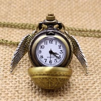 Free Drop Shipping Elegant Harry Potter Golden Snitch Quartz Fob Pocket Watch With Sweater Necklace Chain