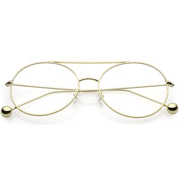 0d51613cd0 Premium Oversize Round Clear Flat Lens Metal Aviator Glasses C49