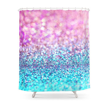 Society6 Pastel Sparkle- Photograph Of Pink And Turquoise Glitter Shower Curtains