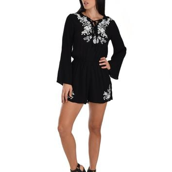 SL3743 Black Long Sleeve Romper With Floral Embroidery And Tie Neck
