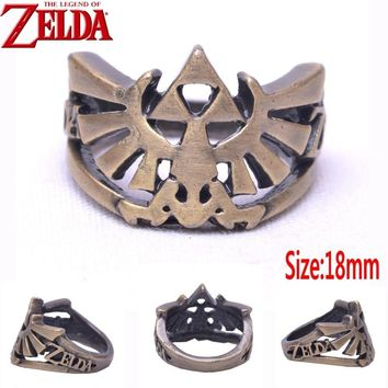 The Legend of Zelda Breath of the Wild Winged Triforce logo 18mm size 8# finger Ring Brozen Cosplay rings Handmade 18mm GiftsKawaii Pokemon go  AT_89_9