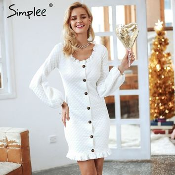 Simplee Elegant lantern sleeve knitted dress women Sexy button autumn winter dress Casual ruffle mini dress vestidos de fiesta