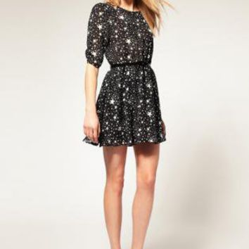 Bqueen  Belted Dress with Star Print BY047E