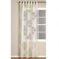 Ivory Damask Burnout Sheer Curtain | World Market