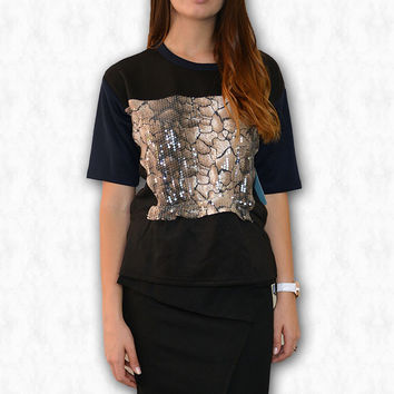 Sequin black/navy peplum print top