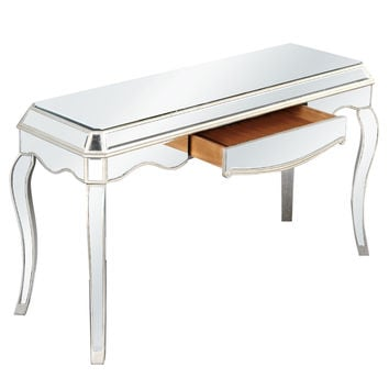 Elegant Lighting - 1 Drawer Desk, Silver/Clear Mirror