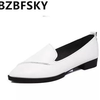 New Autumn Women Flats Leather Pointed Toe Flats 2017 Woman Casual Shoes Oxfords With Sewing Flats Shoes