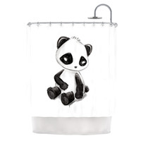 "Geordanna Cordero-Fields ""My Panda Sketch"" Black White Shower Curtain"