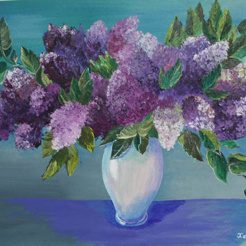 Purple Flowers Drawing * Lilac * Painting On Canvas * Decorations