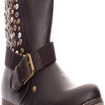 BLACK FAUX LEATHER SIDE STUDDED ACCENTS BUCKLE STRAP LOOK SIDE ZIPPER BOOTS