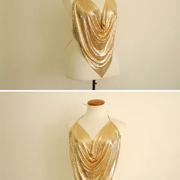 gold mesh halter - 70s vintage metallic disco club chainmail backless draped bib top - one size fits most
